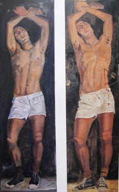 (right) Study for 'Saint Sebastian', Paris, 1970. (left) Saint Sebastian, Paris, 1970.  by Yannis Tsarouchis
