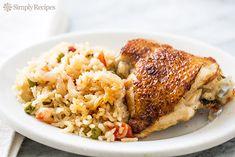 Slow Cooker Chicken Rice Casserole Recipe on SimplyRecipes.com Basmati rice, onions, tomatoes, chicken thighs, seasoned with cumin and cinnamon. #crockpot #glutenfree