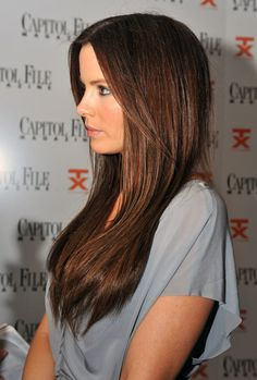 Visit Coolspotters for celebrity hair colors and hair color ideas featuring Kate Beckinsale and Brunette Hair. Medium Brown Hair Color, Chocolate Brown Hair Color, Chocolate Hair, Brown Hair Colors, Hair Colour, Brunette Color, Brunette Hair, Rich Brunette, Perfect Brunette