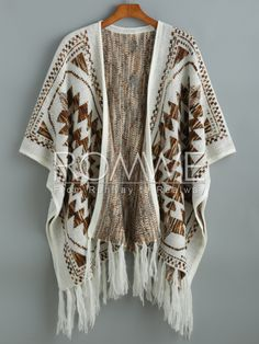 Beige Batwing Sleeve Tassel Geometric Print Sweater 28.99