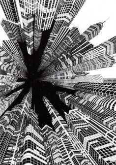 Fine line black ink hand drawn perspective cityscape illustration Escher Kunst, Arte Black, Black Ink Art, Illustration Art, Illustrations, Perspective Drawing, Principles Of Design, Black And White Illustration, Art Plastique