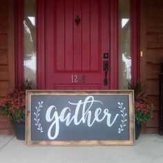 GATHER sign / Large Wall Art / Kitchen Decor / Fixer Upper Style / Wood Sign / Family Room Sign / Handpainted / Farmhouse / Chalkboard Style  Ready to ship! :)  - 100% Hand Painted - Chalkboard Style Background - Hand Painted / Permanent Typography - Raw Rustic Frame - Dimensions approximately 25 x 49 inches - Please review our shipping policies  PLEASE READ before purchase!!!!  Each of our signs are created from reclaimed wood or pine. Our signs are 100% hand painted and because of that no…
