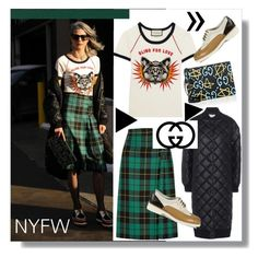 """NYFW-Street Style-Day 2"" by mackenziefoxy7 ❤ liked on Polyvore featuring Bomedo, Gucci, STELLA McCARTNEY, Santoni, StreetStyle, NYFW, gucci and woolskirt"