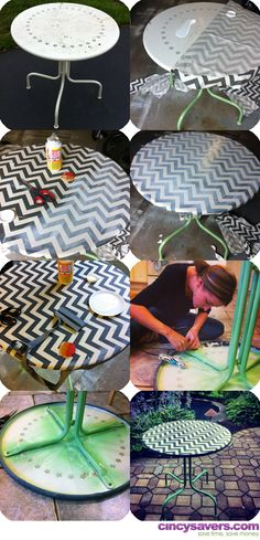 DIY Mod Podged Chevron Table. Dress up any old table, end table or night stand with this easy technique & step-by-step tutorial!