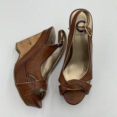 Brown Wedges, Guess Shoes, Wedge Heels, Peeps, Peep Toe, Slippers, Flats, Bag, Fashion