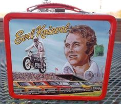 Evel Knievel Antique Lunch Box  (Vintage 1974 Metal Lunchbox) i had this lunch box when I started kindergarten in 1977