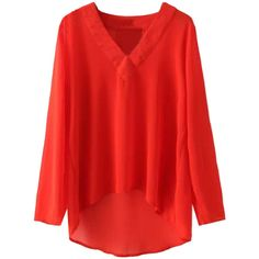 Choies Red V-neck Long Sleeve Chiffon Blouse ($20) ❤ liked on Polyvore featuring tops, blouses, red, v neck blouse, v-neck tops, red v neck blouse, long sleeve v neck blouse and red blouse