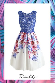 This elegant dress features blue lace mesh panel the upper body with a white lining and V-shaped cut at the back, and multicolor blossoms pattern skirt with an A-line silhouette. Zipper back closure. Non-elastic fabric.#dress