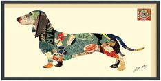 The Art Cache Dachshund Art Collage by Alex Zeng (Framed)