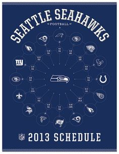 Seattle Seahawks 2013 Schedule - Very cool way to display! This is going to be my phone slide screen come September.