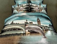 Wholesale Bed In a Bag - Buy 3D Dolphin Blue City Comforter Bedding Set Queen Duvet Cover Quilt Bed Linen Sheet Bedsheet Bedspread Oil Painting, $127.0 | DHgate
