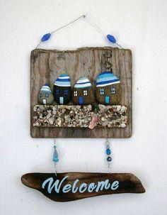 Driftwood fishing village welcome sign hanger