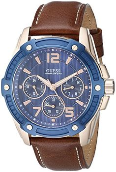 Men's Wrist Watches - GUESS Mens U0600G3 Casual Sport Blue and Brown Leather Watch >>> Click on the image for additional details. (This is an Amazon affiliate link)