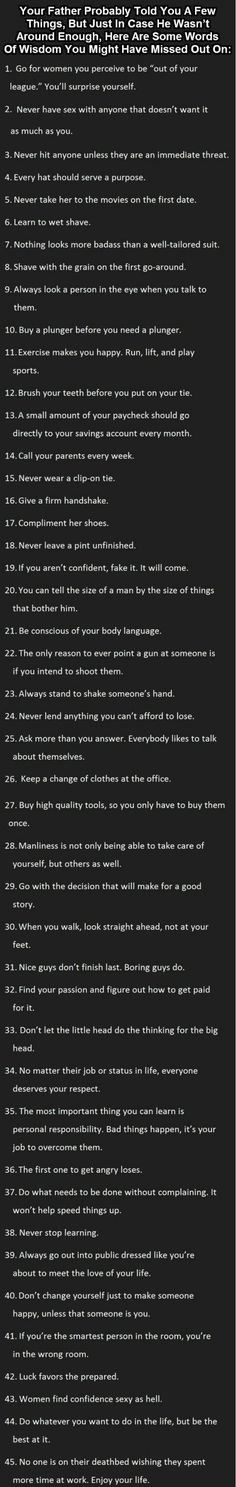 Ultimate list of 45 Man tips, so many good ones. I think 25 and 41 are my favorites.