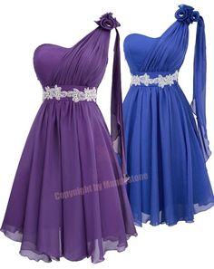 Sexy Chiffon Applique Flower ONE Shoulder Curves Belt Party Dresses S M L 16 | eBay