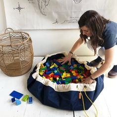 Swoop Bags: Toy Storage Bags + Play Mat in One! Large Toy Storage, Toy Storage Bags, Lego Storage, Toy Storage Solutions, Toy Organization, Organizing, Wooden Train, Inspiration For Kids, Nylon Bag