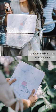 Pink and White Marble Macbook Case Marble Macbook Cover, Marble Laptop Case, Marble Case, Macbook Air, Laptop Case Macbook, Macbook Accessories, Desk Accessories, Rose Gold Macbook Case, Aesthetic Roses