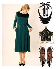 """Emerald green holiday dress"" by marika79 ❤ liked on Polyvore featuring RED Valentino, Aspinal of London, Marc Jacobs, John Lewis, partydress, mididress, longsleevedress and holidaydress"