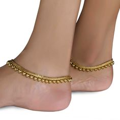 Simple Gold Plated Anklets for Daily wear by Variation