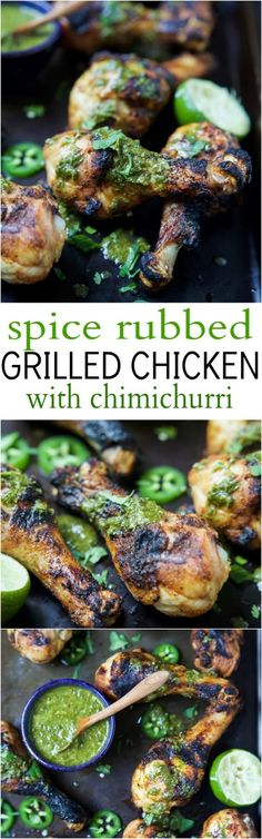 Spice Rub Grilled Chicken with a fresh Chimichurri sauce - a healthy, easy, 30 minute meal packed with fresh zesty flavors. This chicken recipe will quickly be a family favorite! Quick Easy Dinner, Quick Dinner Recipes, Paleo Dinner, Easy Healthy Dinners, Easy Healthy Recipes, Quick Easy Meals, Paleo Recipes, Cooking Recipes, Healthy Eats