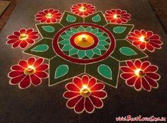 simple green rangoli | HappyShappy - India's Best Ideas, Products & Horoscopes Easy Rangoli Designs Diwali, Rangoli Simple, Indian Rangoli Designs, Rangoli Designs Latest, Simple Rangoli Designs Images, Rangoli Designs Flower, Free Hand Rangoli Design, Small Rangoli Design, Rangoli Border Designs