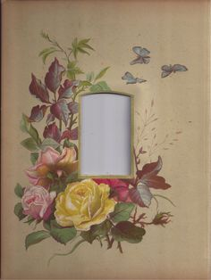 Lovely Chromolithograph Page (Mat) Victorian Album, CDV, Roses & Butterfly