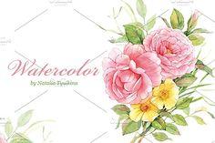 Watercolor briar and pink roses by Natalia Tyulkina on @creativemarket