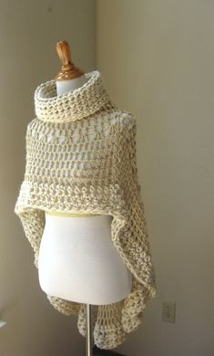 BEIGE CAPE PONCHO Crochet Knit Cream Shawl by marianavail on Etsy. This is beautiful , would love to make