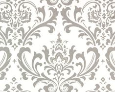 CLEARANCE - Remnant  Home Dec Fabric -Traditions Damask, Gray and White - Premier Prints - 1/2 Yard. $3.00, via Etsy.