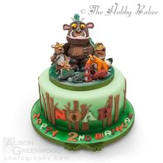 My last cake for 2016 Inspired by Zoe's fancy cakes design which she gave me permission to use I added a few more characters Gruffalo Party, The Gruffalo, 3rd Birthday Cakes, 2nd Birthday Parties, 4th Birthday, Friends Cake, Fancy Cakes, Childrens Party, Themed Cakes