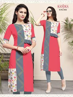 Kanika Rich Look Vol 7 Designer Rayon Print Kurtis.We have high reputation as leading kurti manufacturer among all customers as we specialized in production of various women's apparel. New Kurti Designs, Printed Kurti Designs, Simple Kurti Designs, Churidar Designs, Kurta Designs Women, Kurti Designs Party Wear, Kurti Sleeves Design, Kurta Neck Design, Sleeves Designs For Dresses