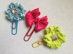 Excited to share the latest addition to my #etsy shop: Set of 3 bow flower paper clips, planner accessory, satin ribbon flower clips, bright flowers, floral planner paper clip, flower book marks http://etsy.me/2FqnETR #papergoods #calendar #pink #backtoschool #yellow #