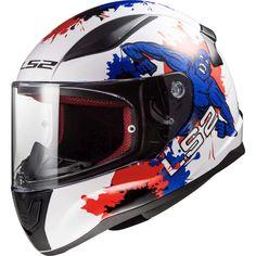 Κράνος LS2 FF353J Rapid Mini Monster White-Blue Ls2 Helmets, Kids Helmets, Mini Monster, Red And Blue, Products, Full Face Helmets, Motorbikes, Red And Teal, Gadget