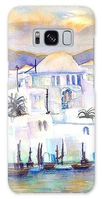 Greece- The White Houses of Mykonos Galaxy Case by Sabina Von Arx White Houses, Mykonos, Galaxy S8, Colorful Backgrounds, Greece, Oriental, Original Paintings, Presentation, My Arts
