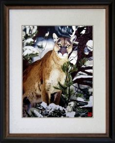 &&  King Silk Art 100% Handmade Embroidery Large Framed Cougar Under the Snowy Pines Chinese Print Wildlife Animal Painting Gift Oriental Asian Wall Art Décor Artwork Hanging Picture Gallery 74065