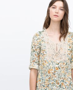 Image 2 of PRINTED SHIRT WITH BIB FRONT NECKLINE from Zara