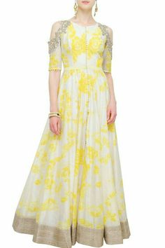 Beautiful Off-white and yellow floral anarkali by Anushree Reddy. India Fashion, Ethnic Fashion, Muslim Fashion, African Fashion, Women's Fashion, Fashion Trends, Indian Wedding Outfits, Indian Outfits, Wedding Dress