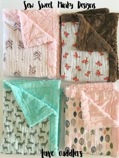 Luxe cuddler blankets! Muslin front with faux fur Minky backing. Baby blanket | minky blanket | child blanket | swaddle