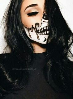 skull makeup. Are you looking for scary horrifying Halloween makeup ideas for women to look the best at the Halloween party? See our photo collage to pick the one that fits the Halloween costume.