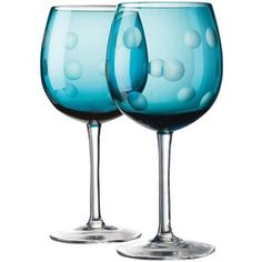 Home Essentials Pulse Dots Goblet, Blue (Set of 4)