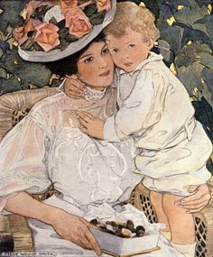 AUNTIE illustrated by Jessie Willcox Smith (September 6, 1863 – May 3, 1935)  Smith never had children of her own.  However, she managed to capture the sensitivity and freedom from anxiety or responsibility that characterizes young age as well as the love of a parent towards a child.