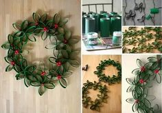 Toilet paper roll holly wreath