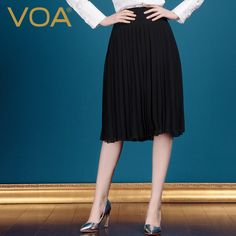 Find More Skirts Information about VOA Classic Pleated 100% Silk Skirt 2015 Summer New Style Black Middle Women Skirt C332,High Quality skirt hanger,China skirt tube Suppliers, Cheap skirt girl from VOA Flagship Shop on Aliexpress.com