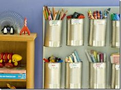 Recycled tin can crafts can be a lot of fun to make. I've rounded up 10 recycled tin can crafts and projects. Classroom Organization, Organization Hacks, Organizing Ideas, Classroom Ideas, Organising, Art Classroom, Organizing School, Organizing Toys, Organizational Goals