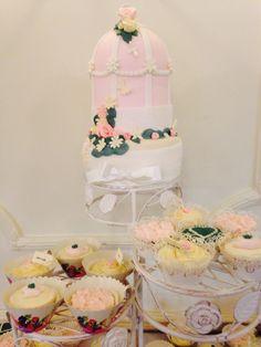 Birdcage cake with cupcakes Cake Blog, Bird Cage, Cupcakes, Cupcake, Cupcake Cakes, Birdcages, Bird Cages, Brioche
