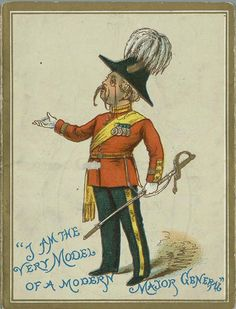 "For color reference: illustration depicting Edward Percy as Major-General Stanley from a souvenir program for D'Oyly Carte's Children's Opera Company production of ""The Pirates of Penzance"", 1884 Christmas season at the Savoy Theater."