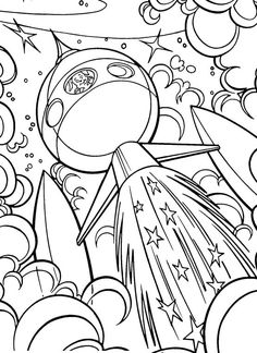 space coloring pages with rocket for kids with cat printable free coloring pages pinterest