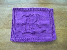 Items similar to Monogrammed Hand Knitted Old English Letter R Purple Picture Dish Cloth or Wash Cloth on Etsy Knitted Washcloths, Knit Dishcloth, Hand Knitting, Knitting Patterns, Old English Letters, Knit Basket, Christmas Countdown, Christmas 2017, Knitted Animals