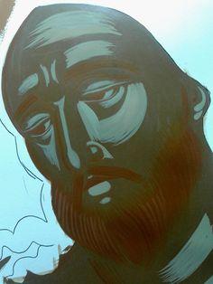 Στάδιο 3 Γλυκασμός Μπαίνει στην μεριά που φωτίζει το πρόσωπο,στα ρουθούνια,στα μάτια δίπλα στην κόρη του ματιού,στο κάτω χείλοςμε γλυκασμό και στα μήλα του προσώπου όπου φωτίζει,στα αυτιά το μέτωπο και τον λαιμό Religious Icons, Religious Art, Like Icon, Byzantine Art, Painting Process, Orthodox Icons, Sacred Art, Community Art, Ikon