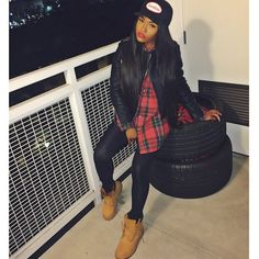 Dope Swag Baddie Bad Bitch Plaid Shirt Leather Quilted Biker Jacket Leggings Timberland Boots Cap Urban Streetwear Fashion Style Trend Earanequa Carter Earanequa